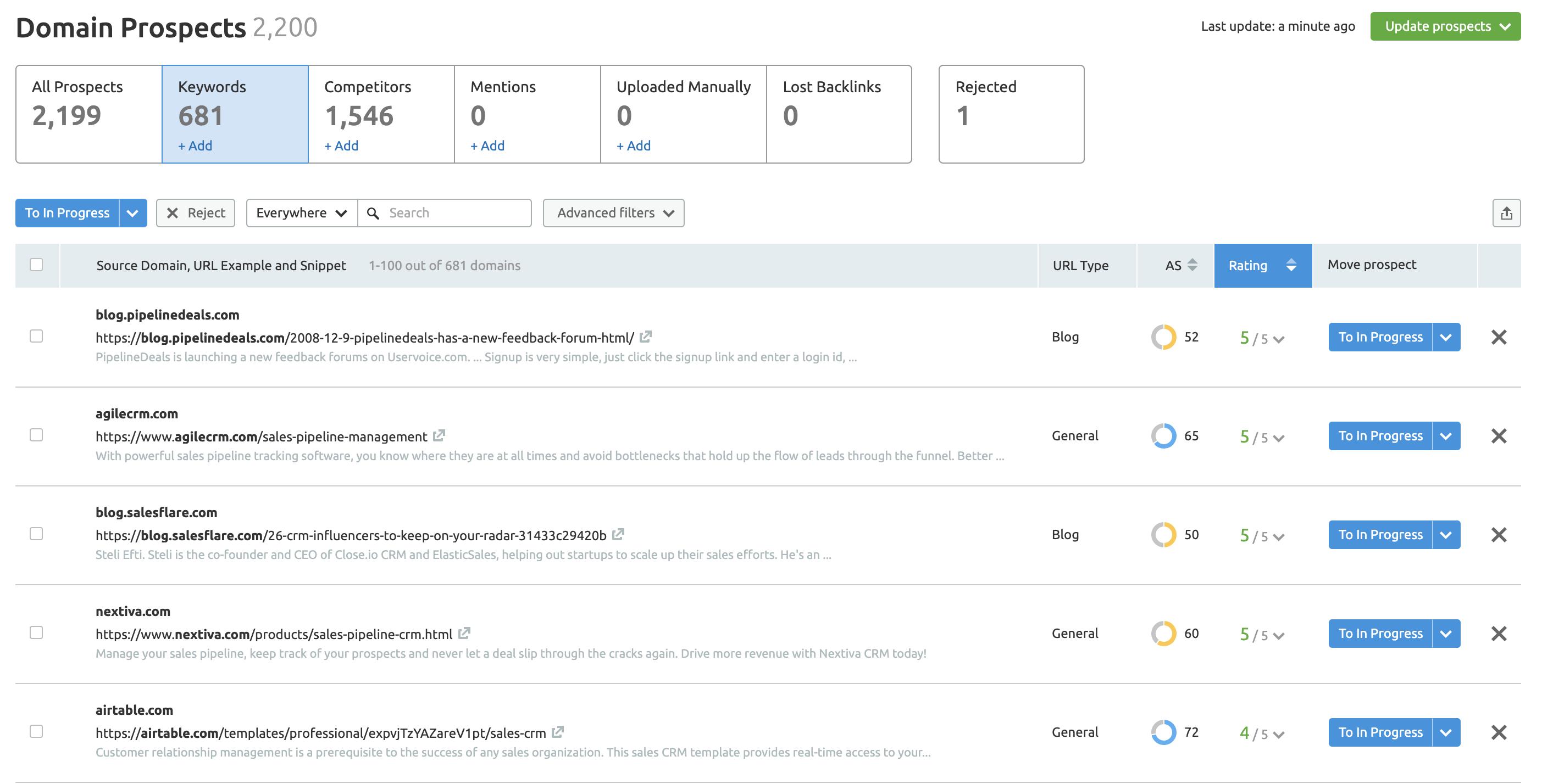 Semrush Link Building Tool screenshot
