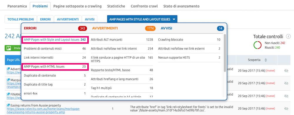 AMP audit di SEMrush: visualizza tutti gli errori delle tue pagine su mobile