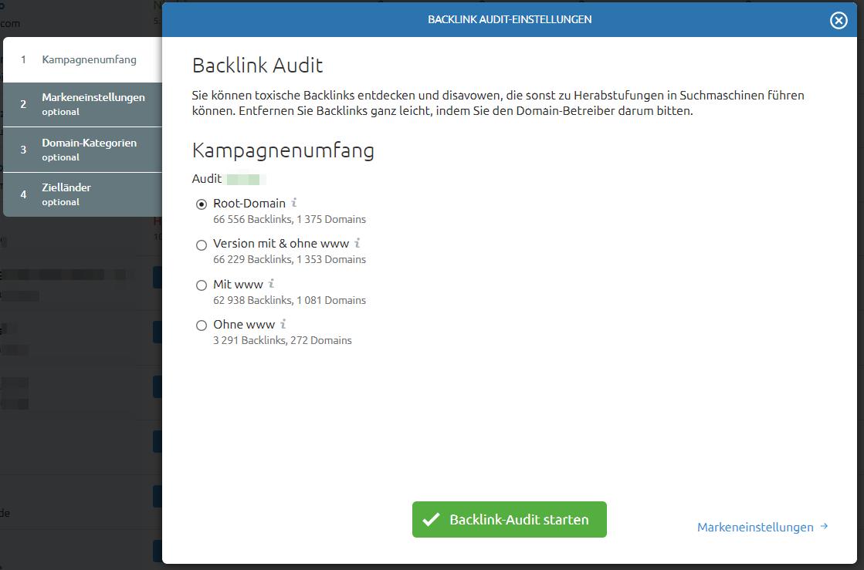 Backlink Audit einrichten
