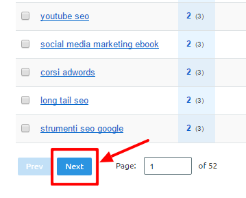 Pulsante Next per analizzare le keyword in seconda pagina