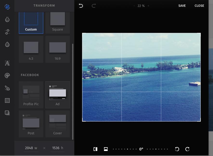 Editor de imágenes de SEMrush - Ajustes personalizados