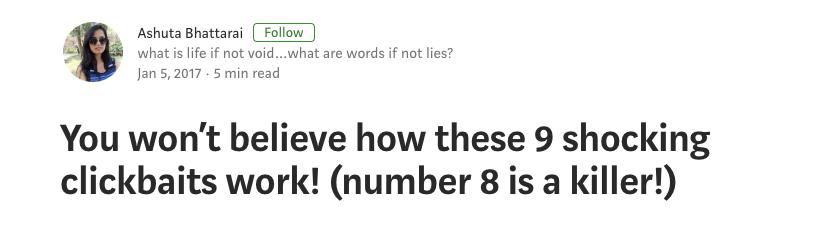 Qué es el Clickbait - Ejemplo de Medium.com