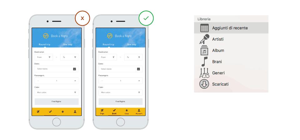 Consigli per migliorare la UI: usare le text labels