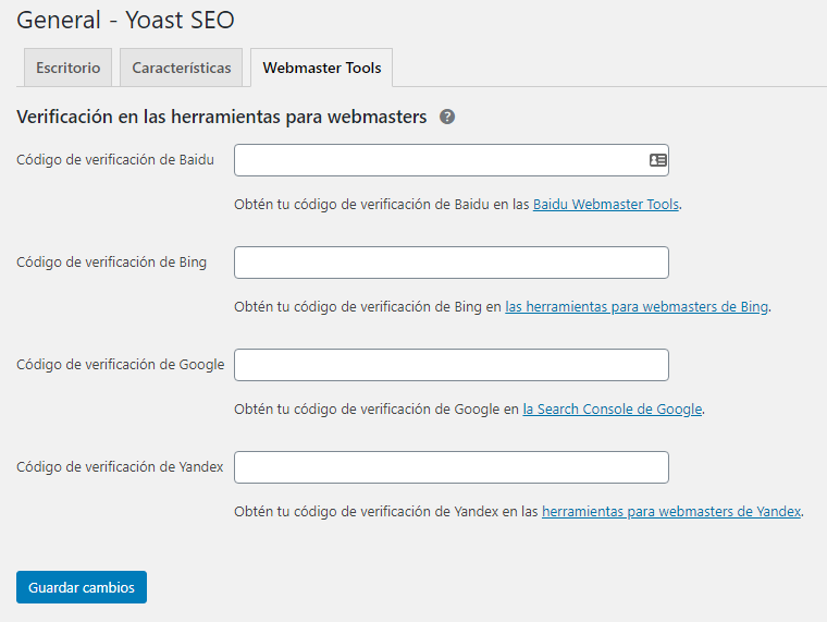 Wordpress SEO checklist - Configuración Yoast webmasters tool