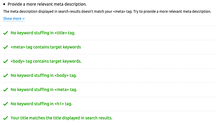 On-page seo checker data from tool