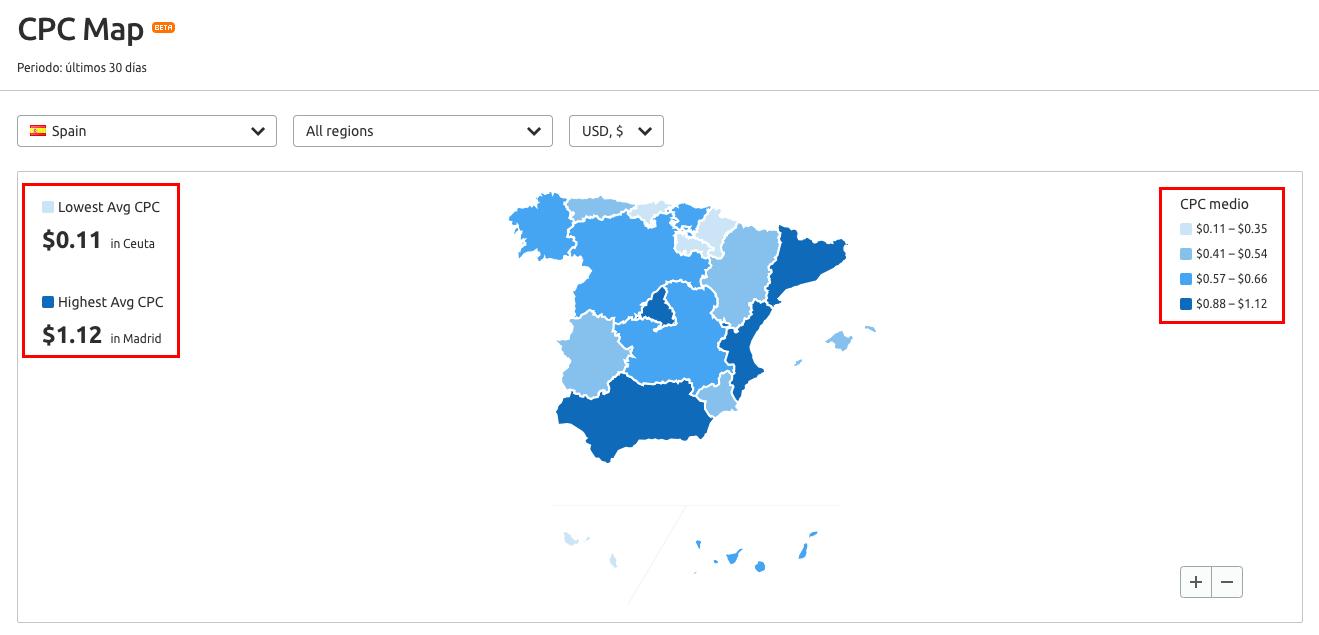 SEO y PPC - Mapa España