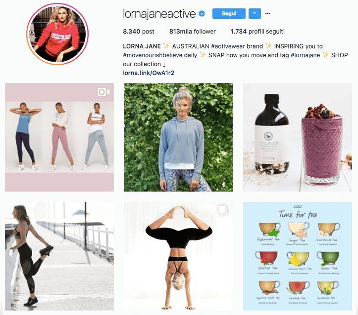 Lorna Jane, account Instagram: guarda il suo profilo per ispirarti