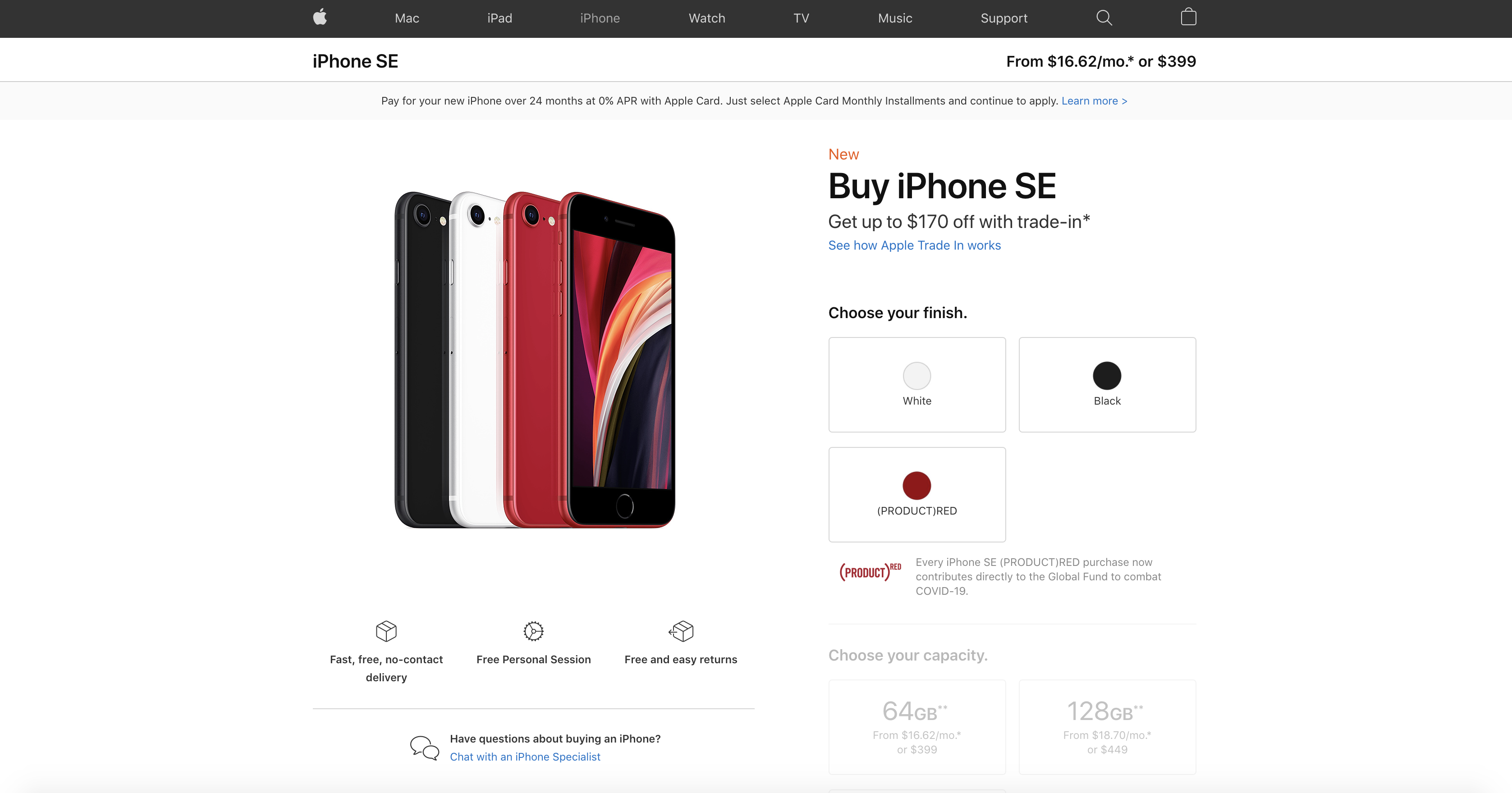 iPhone SE Product Page Screenshot
