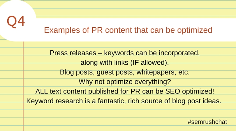 Examples of PR content that can be optimized