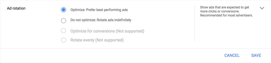 New Google ad rotation