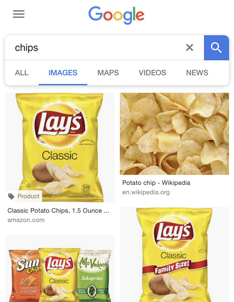 Google US image search results for chips