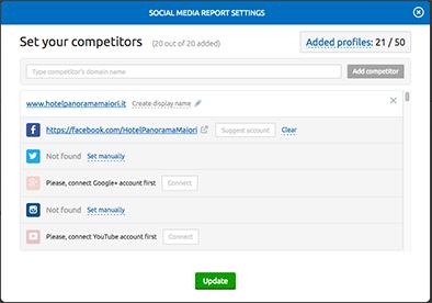 Come inserire i competitor sul Social media tool