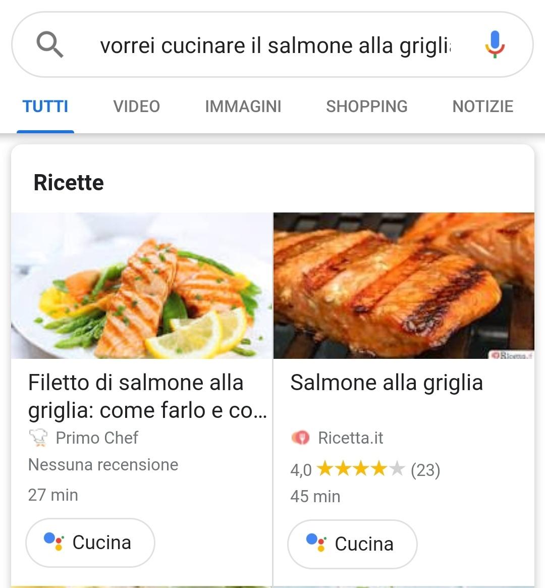 """Il bottone """"Cucina"""" in serp permette di inviare la ricetta allo Smart Display"""