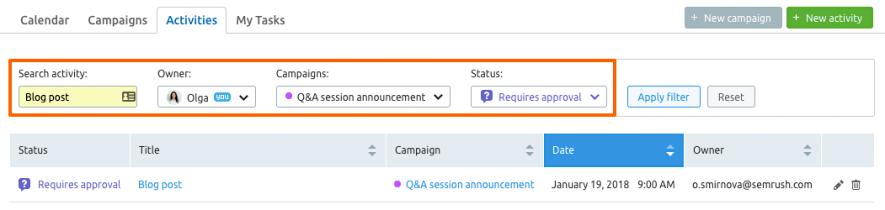 Filtra le attività della tua campagna social globale con Marketing Calendar