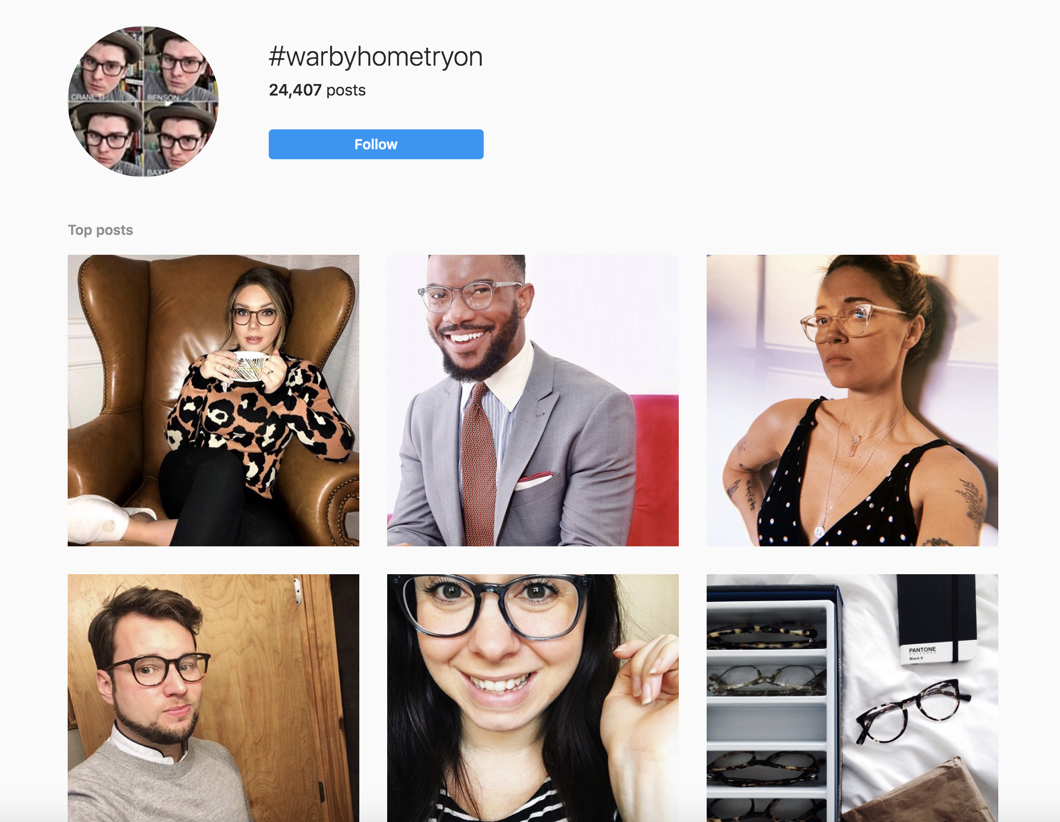 Warby Parker Home Try On Instagram screenshot