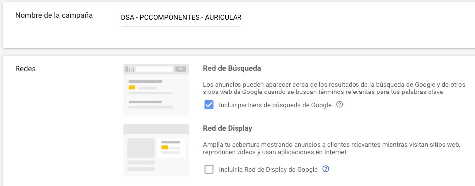Anuncios dinámicos de búsqueda - Configuración de la red