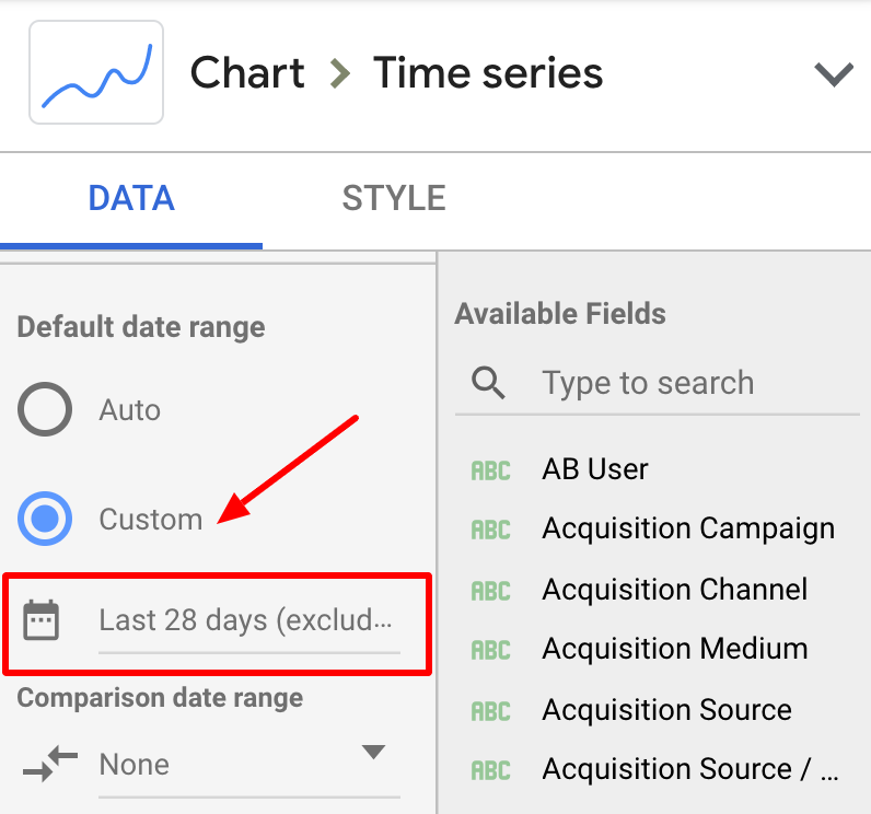 Google Data Studio: Google Analytics date range