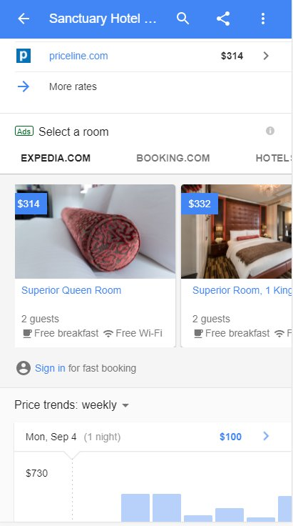 Room selection in hotel search