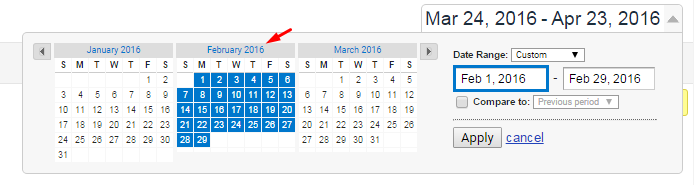 Select an Entire Month