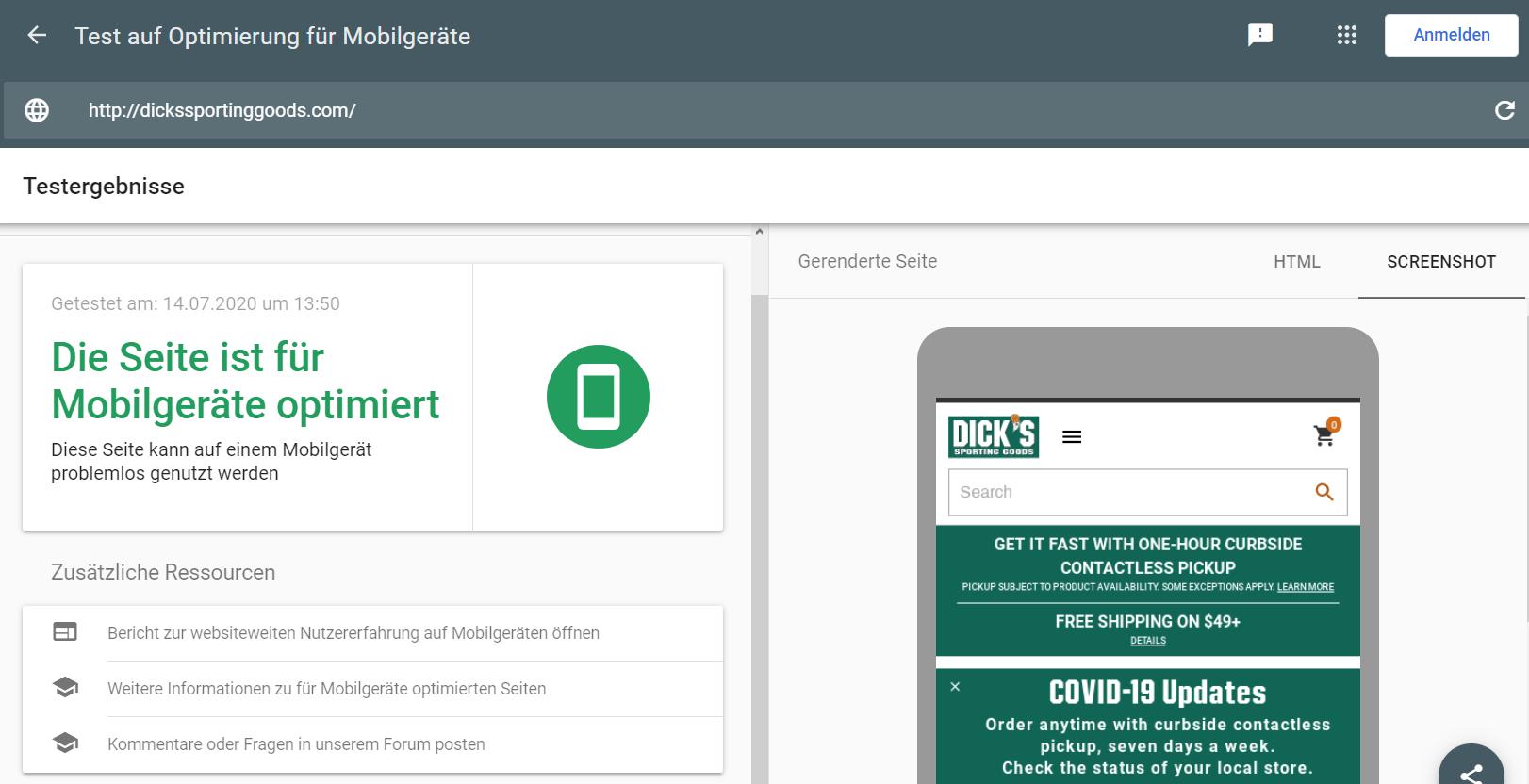 Googles Testtool für Mobilfreundlichkeit