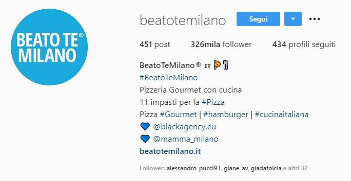 esempio di bio dell'account instagram di un ristorante milanese