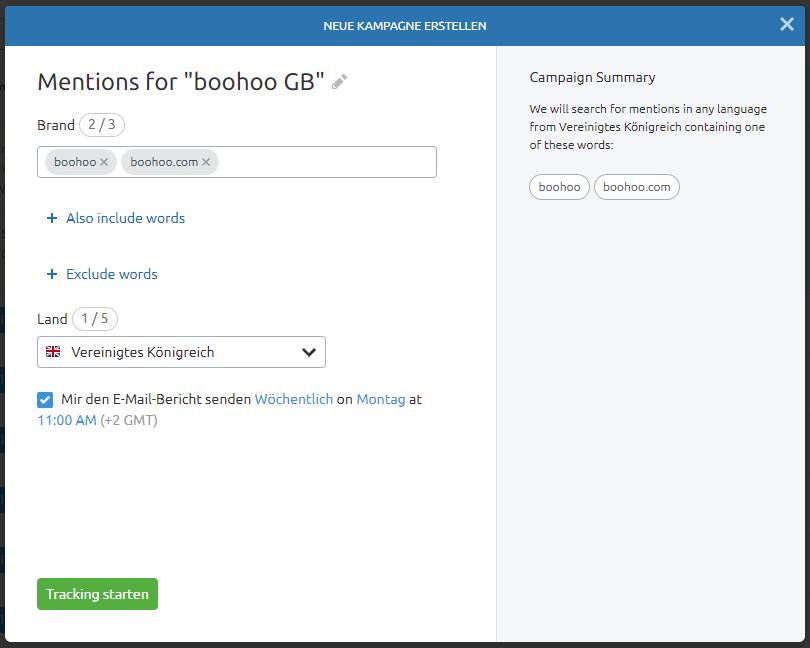 Screenshot: Brand Monitoring einrichten