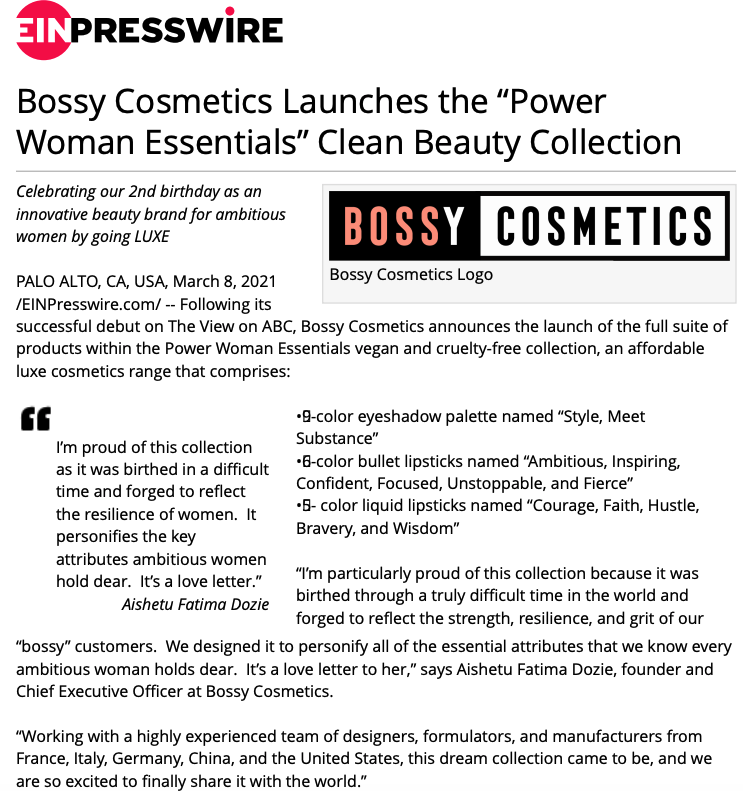 bossy cosmetics launch