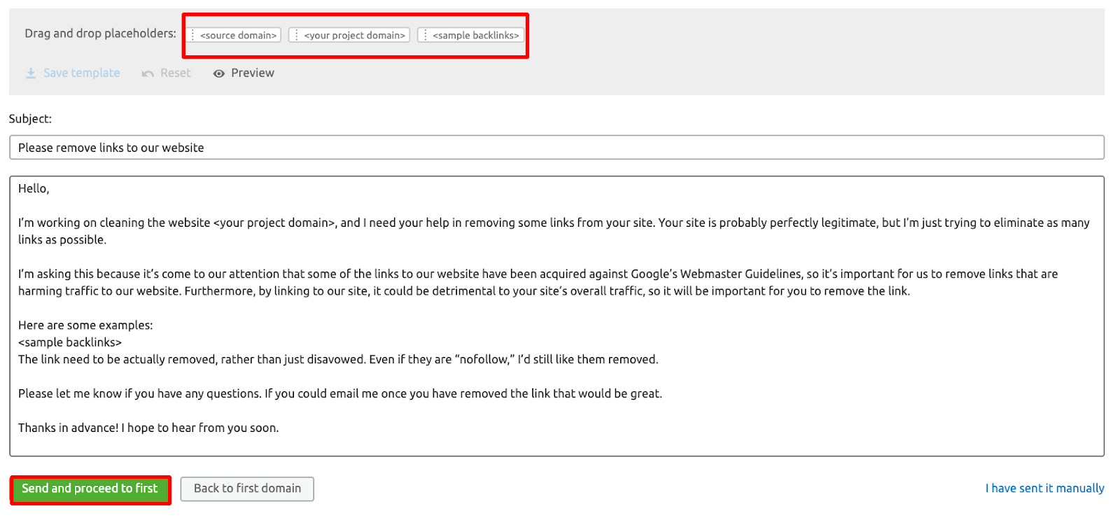Email template example from the SEMrush Backlink Audit tool