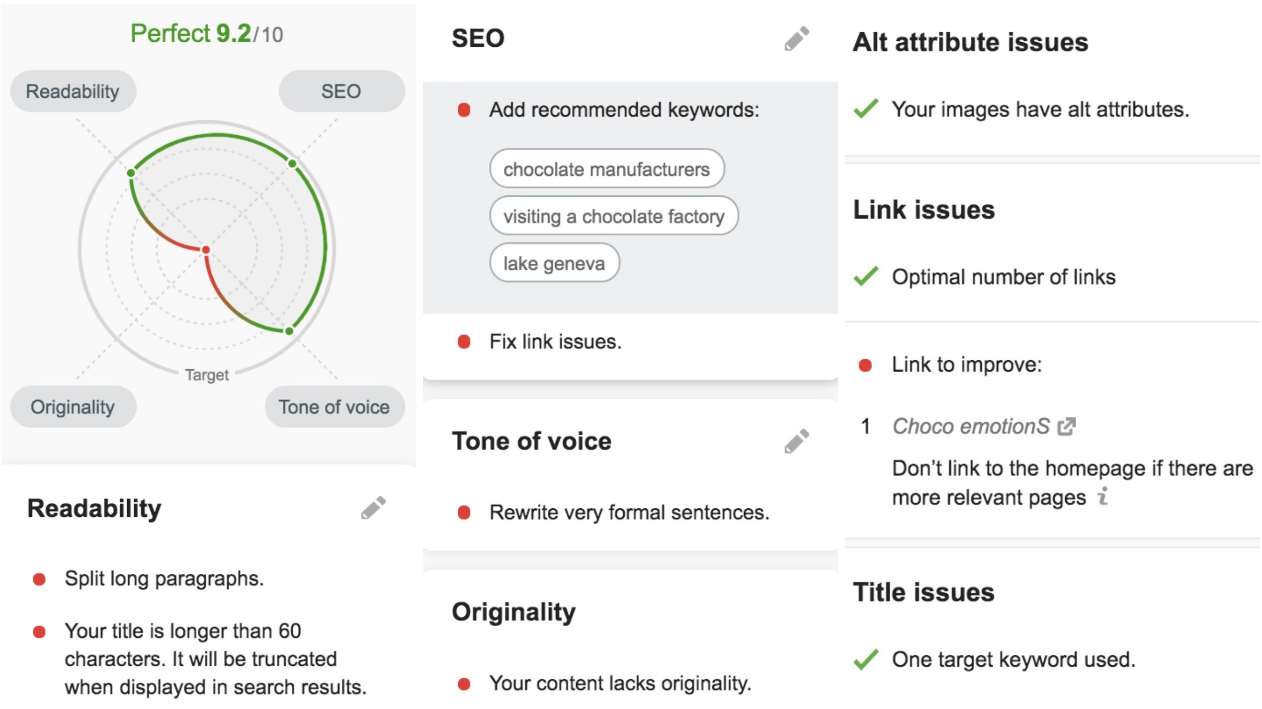 SEO Writing Assistant extension features – check SEO optimization