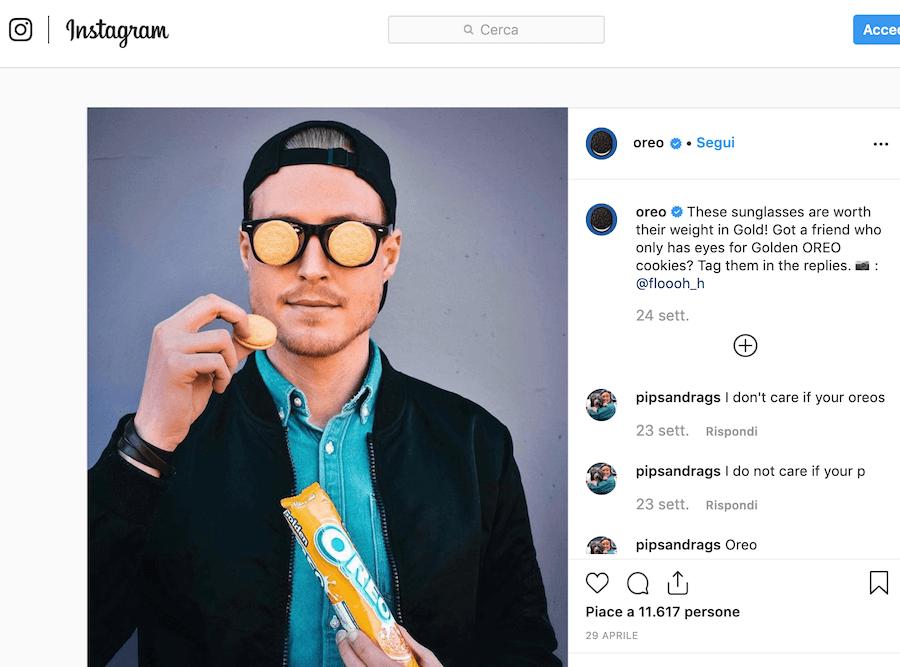Segui l'esempio di Oreo su Instagram
