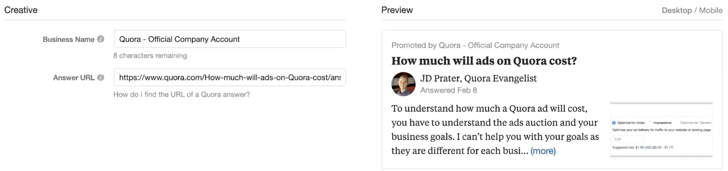Weekly Wisdom with JD Prater: How to Set Up Your First Quora Ad Campaign. Image 18
