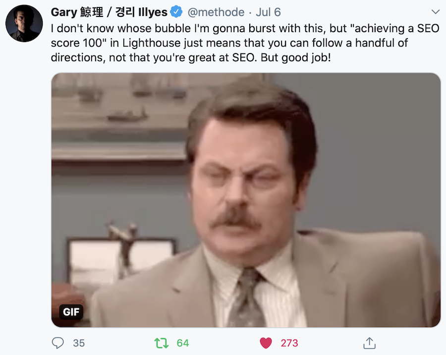 Google's Gary Illyes tweet on pagespeed