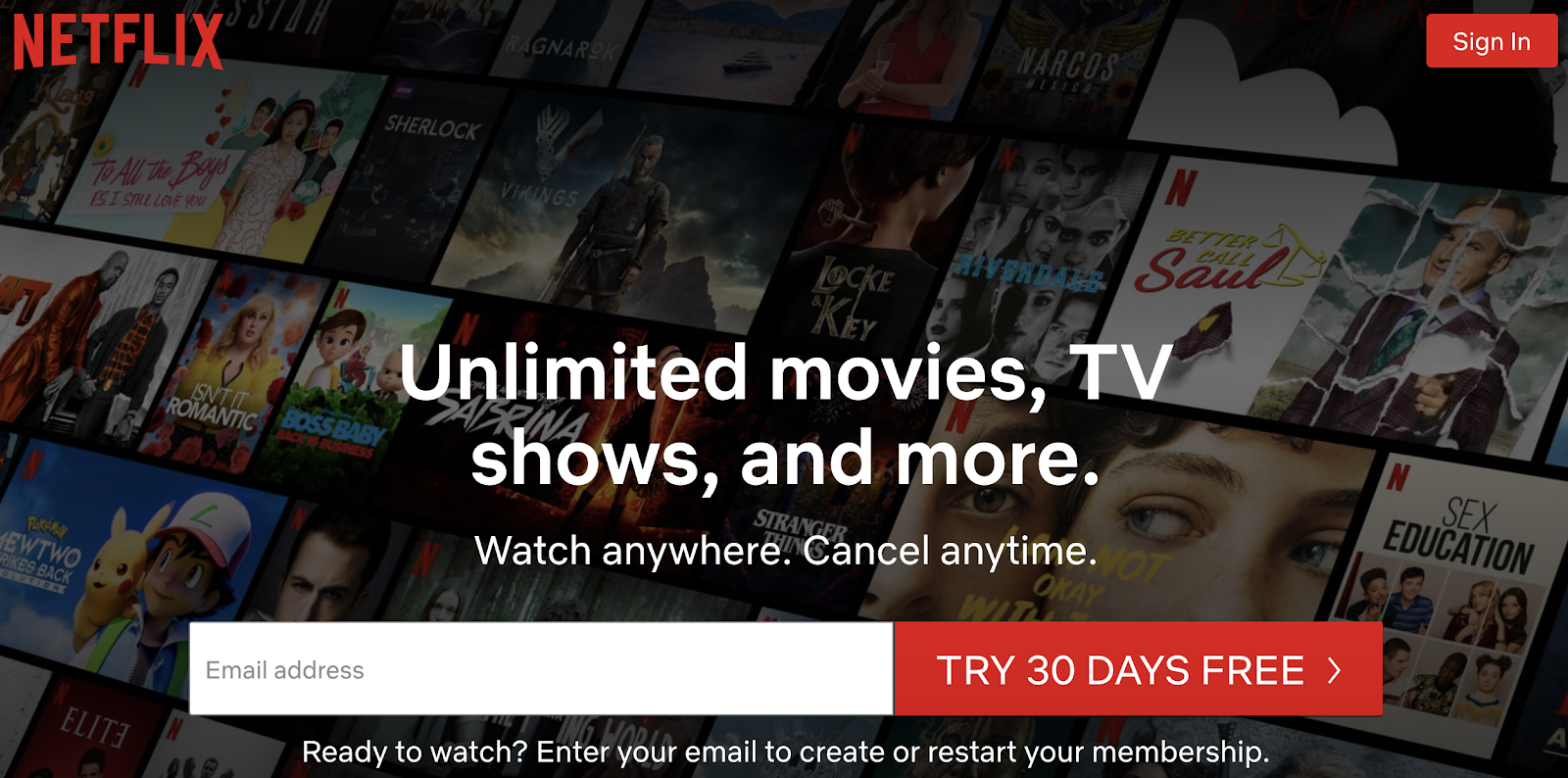 Netflix free trial example