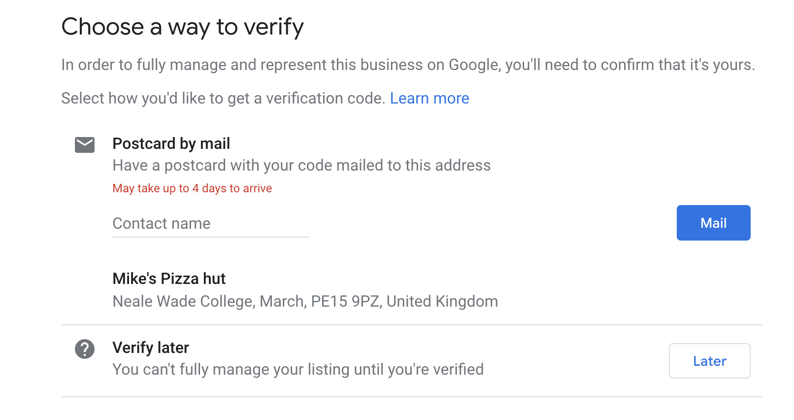 GMB Verify Listing