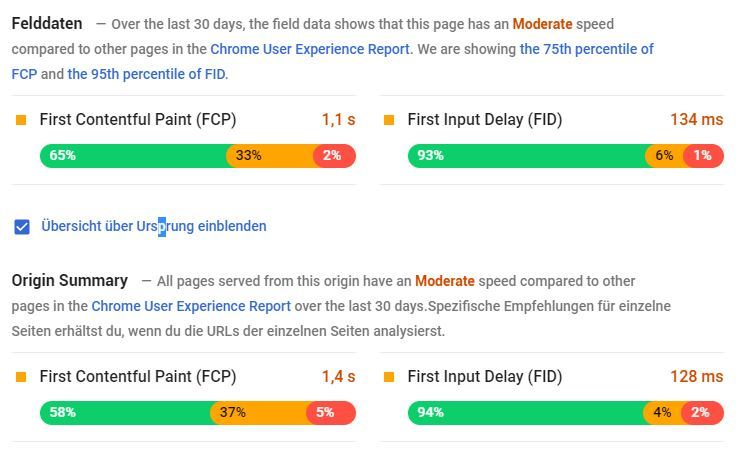 Google PageSpeed Insights: Felddaten