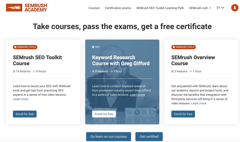 Guida SEMrush: i corsi gratis per imparare a usare gli strumenti seo