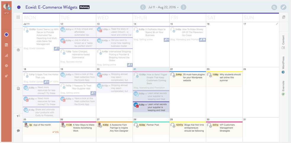 Ecwid's Calendar on CoSchedule