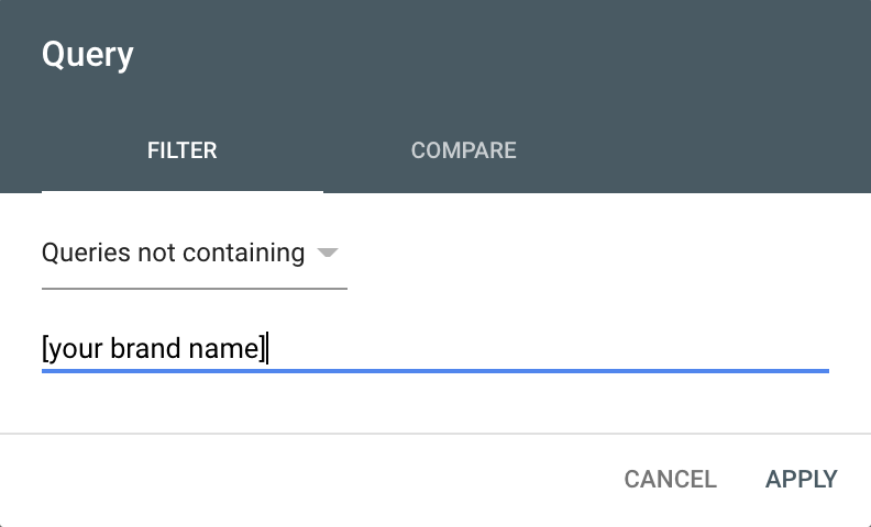 brand filter Google Search Console