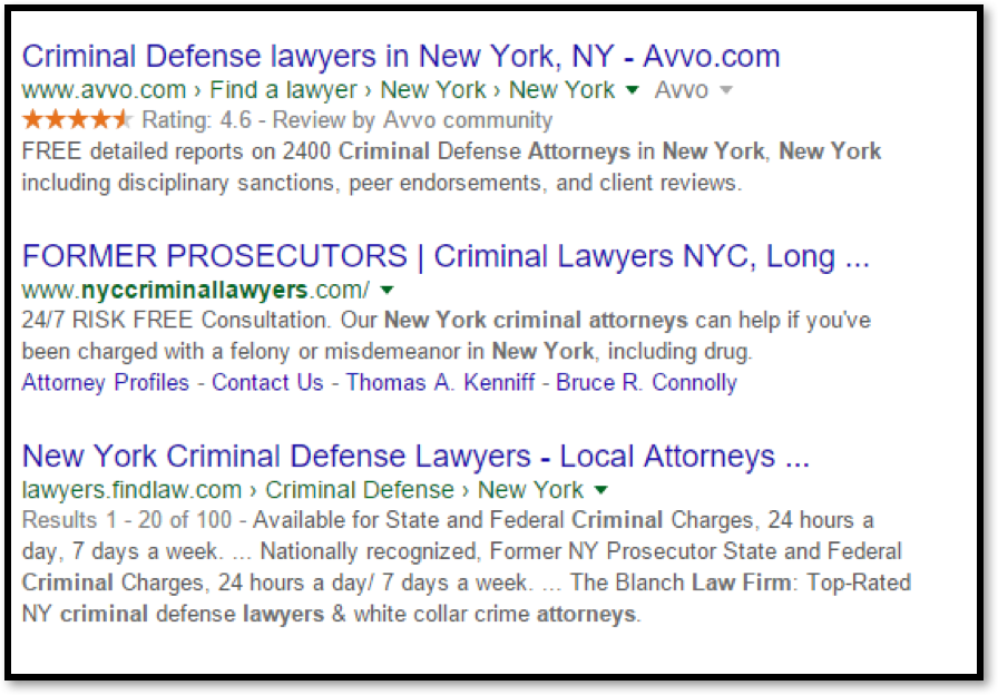 Criminal Lawyer NYC on Google Results