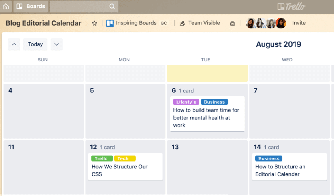 using Trello to create a content calendar and organize publishing schedules