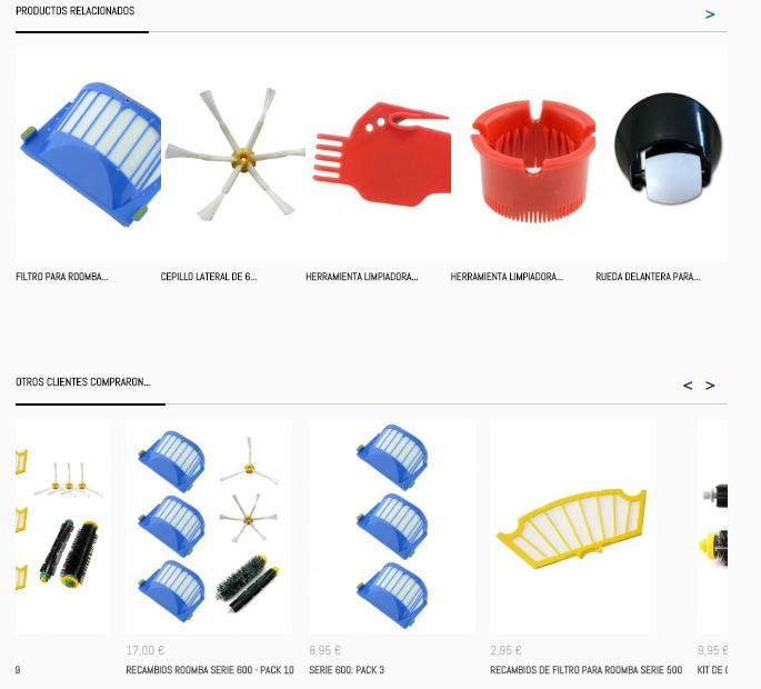 Ejemplo de cross-selling o venta cruzada en una tienda online
