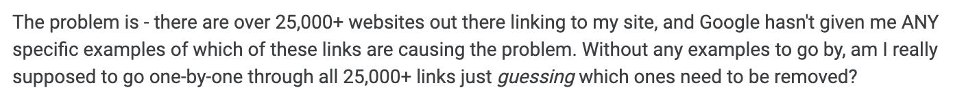 Question d'un webmaster dans Google Console Help à propos du manque d'exemples de liens artificiels.