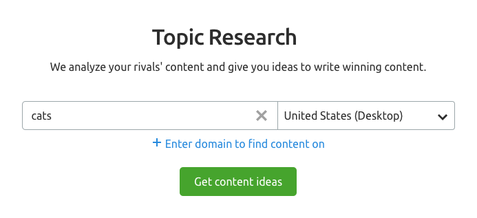 SEMrush Topic Research interface