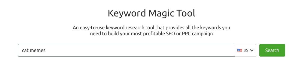 SEMrush Keyword Magic Interface