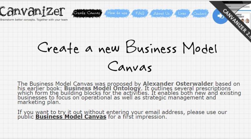 Modelo de negocio Canvas - Canvanizer
