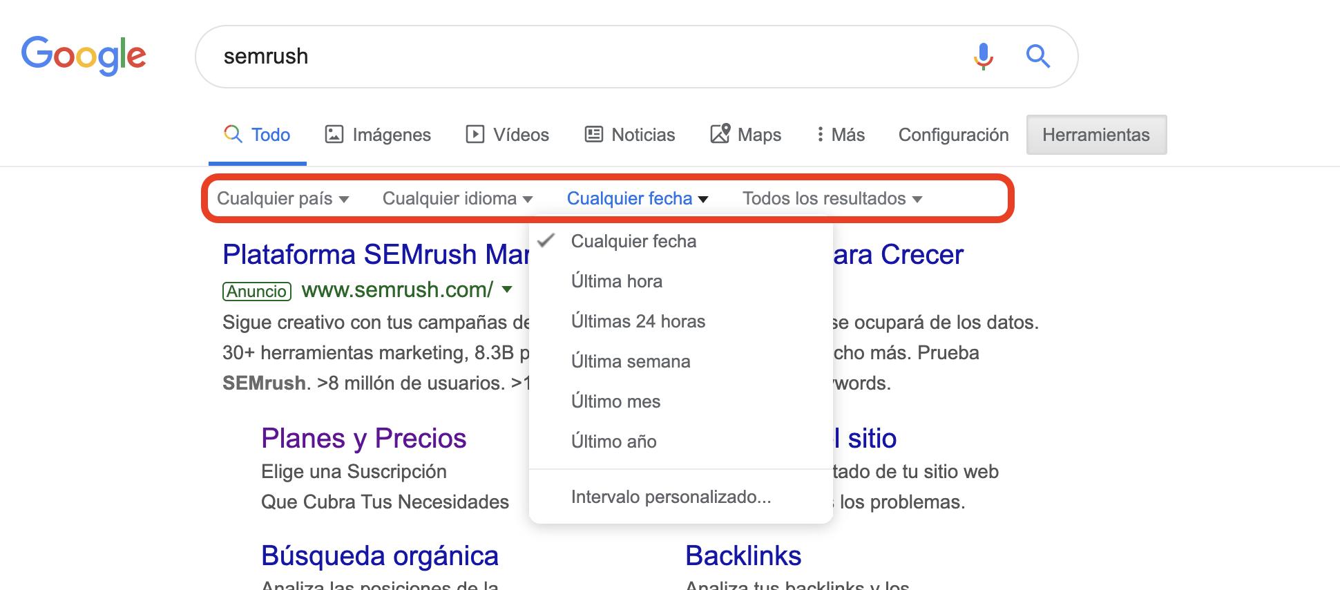 Búsqueda avanzada en Google - Herramientas en las búsquedas