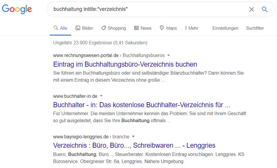 Google: Verzeichnisse zum Thema Buchhaltung