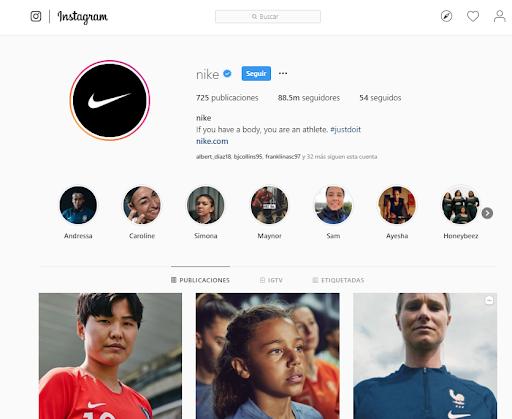 Likes en Instagram - Nike
