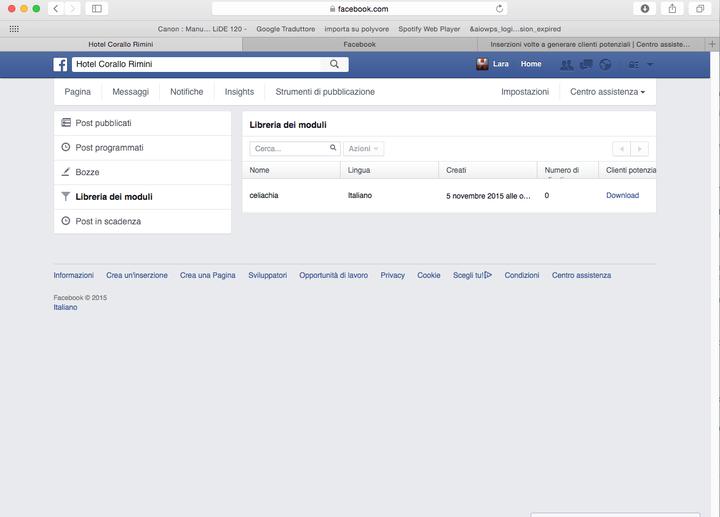 """Facebook Leads: scaricare indirizzi in """"Strumenti di pubblicazione"""""""