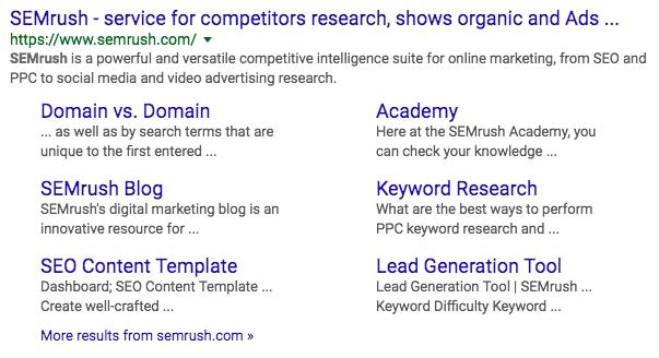 SEMrush sitelinks SERP feature